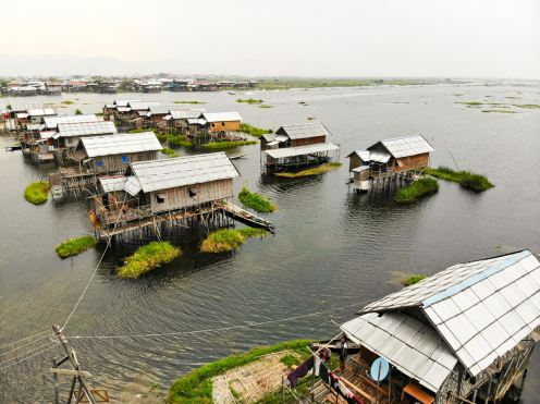 Fisherman Village Inle Lake Drone Photo
