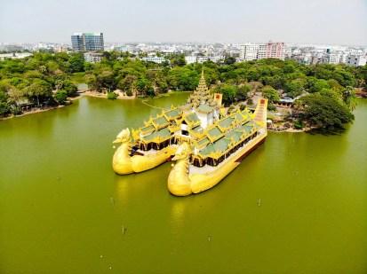 Karaweik Palace Drohne Foto Yangon Kandawgyi Park