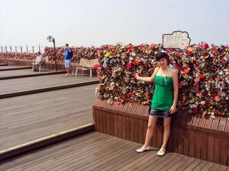 Aussichtsplattform mit Liebesschlösser N Seoul Tower