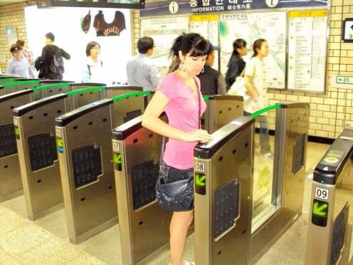 U-Bahn Ticket Kontrolle Seoul Südkorea