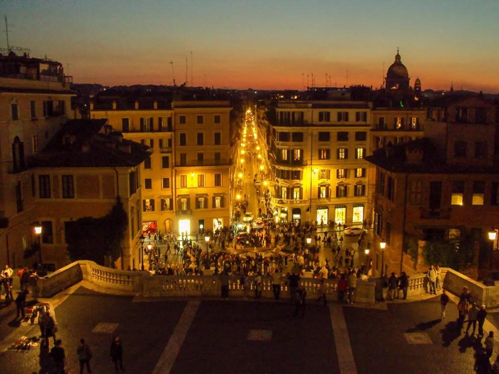 Aussicht von Spanischen Treppe in Rom