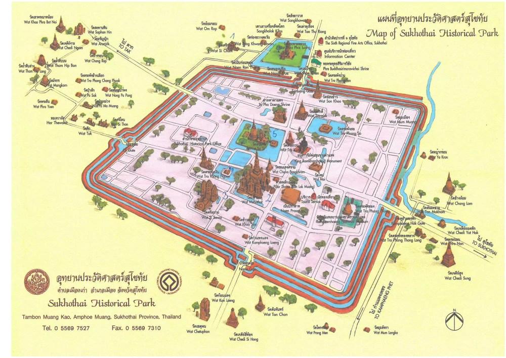 Sukhothai Karte - Historischer Park