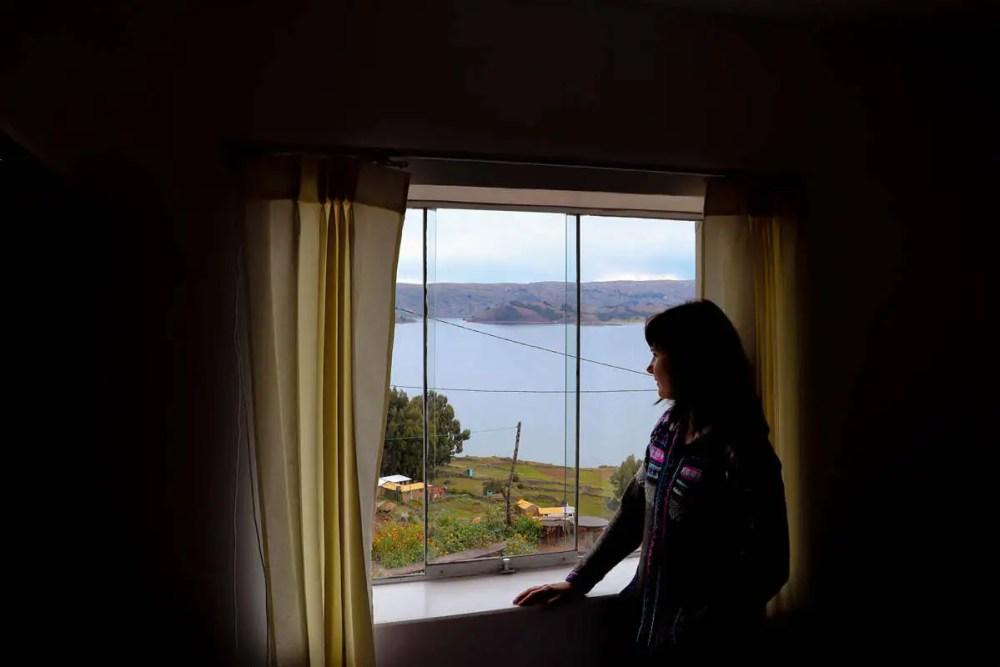 Aussicht auf Titicacasee aus dem Homestay auf Amantani