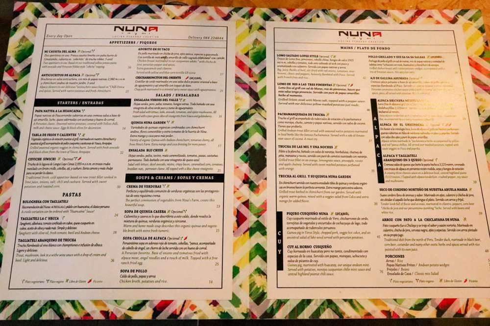 Speisekarte Nuna Raymi Restaurant in Cusco