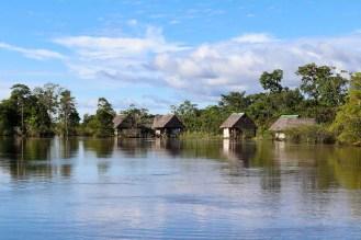 Häuser auf dem Wasser im Dschungel