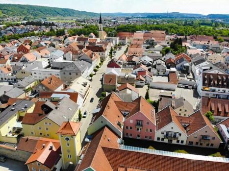 Altstadt Kelheim aus der Luft