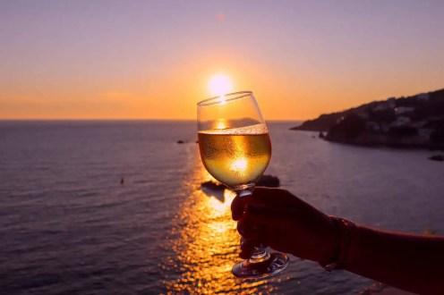 Sonnenuntergang Glas Wein Fisherman Hari