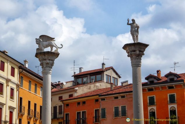 Winged Lion and St Mark pillars in Vicenza