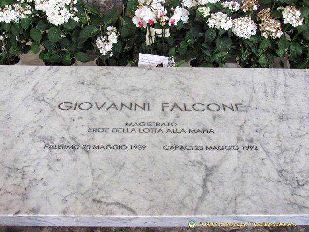 Gravestone of Giovanni Falcone, a prominent anti-mafia judge, who was assassinated by a mafia bomb in 1992