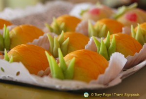 Marzipan carrot-shaped sweet
