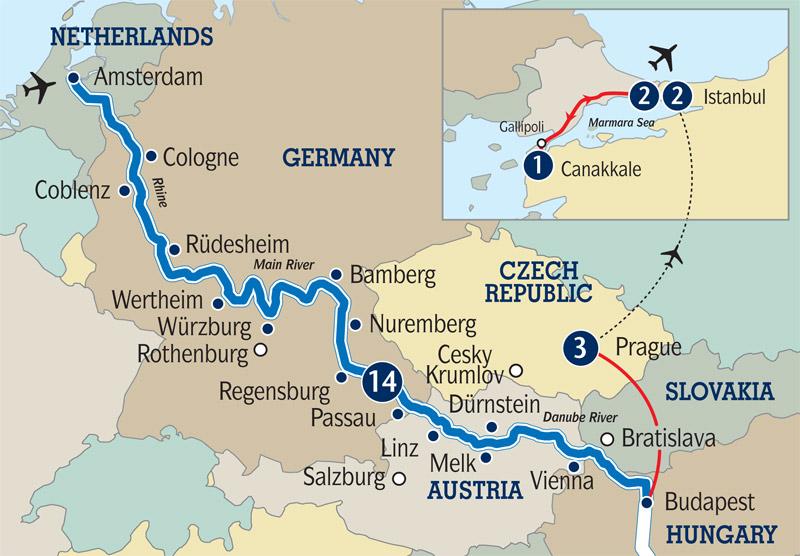 Amsterdam to Budapest river cruise Gallipoli Dawn Service River