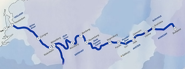 Amsterdam to Budapest River Cruise Route