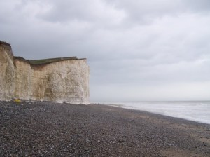 Impressive chalk cliffs at Burling Gap on the South Downs Way