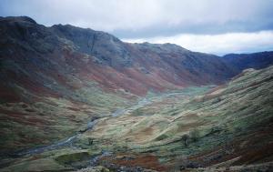 The impressive Langstrath Valley near Stonethwaite .