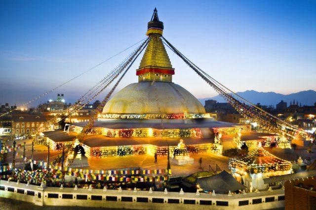 Nepal, Kathmandu Valley, Bodhnath Stupa at twilight