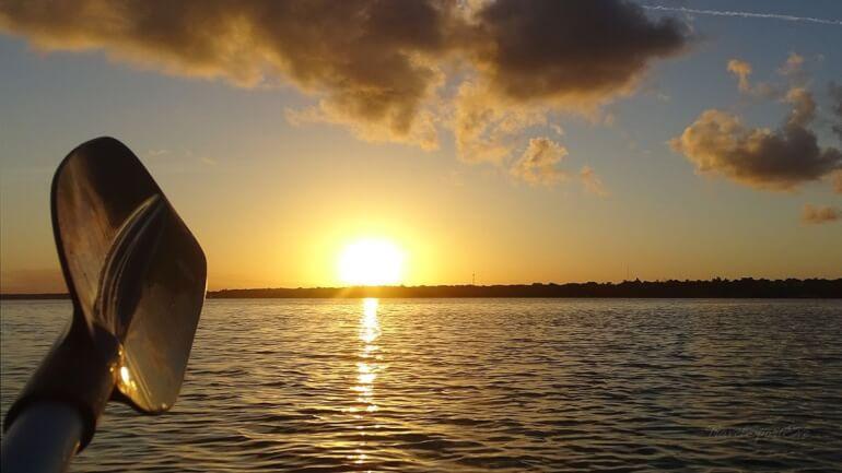 Laguna Bacalar Paddeln Sonnenuntergang