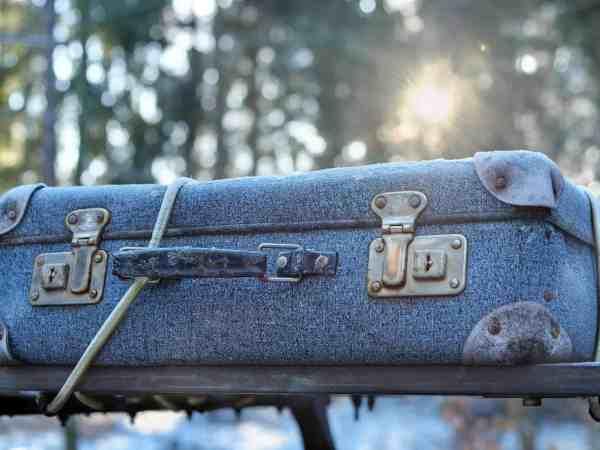 Vintage Koffer aus Jeansstoff