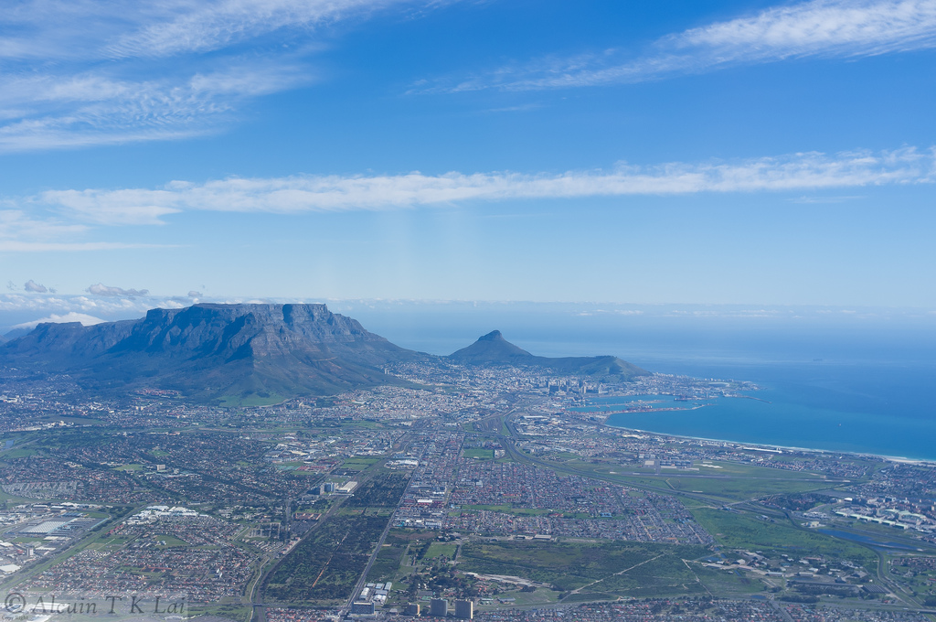 Aerial photo of greater Cape Town.