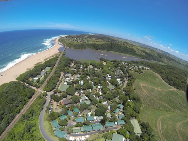 An aerial view of Mac Nicol's Caravan Park at Bazley Beach on the KZN South Coast.