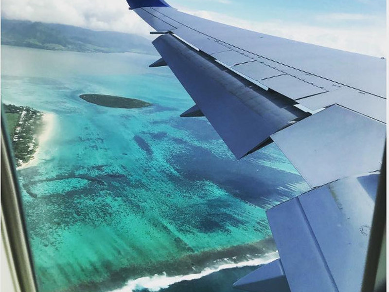 flying over mauritius