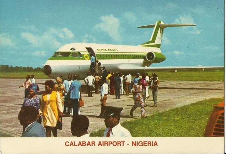 Nigeria Airways Fokker 28 at Calabar airport 1970s