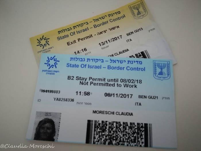 Visto d'ingresso per Israele
