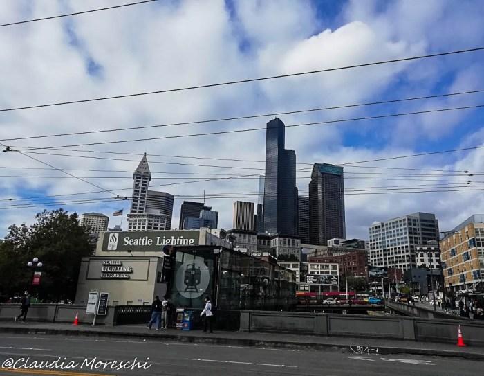 Vista su Seattle al mio arrivo alla stazione di King Street