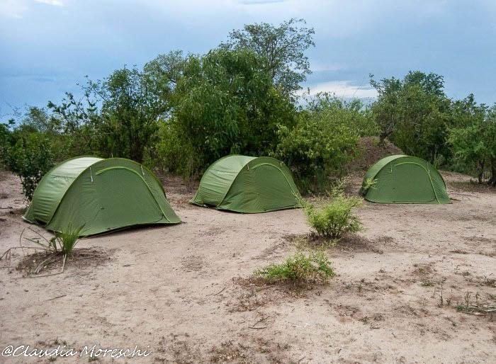 In tenda nel Liwonde National Park, in Malawi