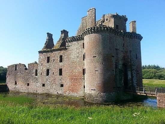 moat view of caerlaverock castle