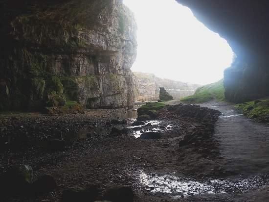 inside smoo cave scottish highlands.
