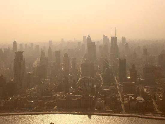 smog skyline living in wuhu china.