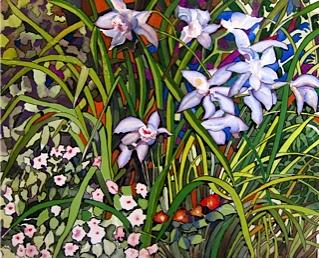 Orchids, watercolour 50x41cm