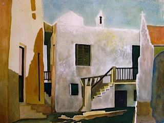 Painting by Australian Artist Noel Jackson of a village in Europe