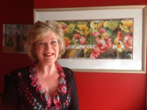 Kerry and her poppies painting