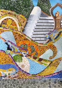 Beautiful mosaic's in Park Guell Barcelona Spain