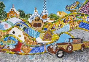Beautiful mosaics and old car at Park Guell Barcelona Spain