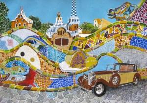 Beautiful mosaics and old car at Park Guell Barcelona Spain