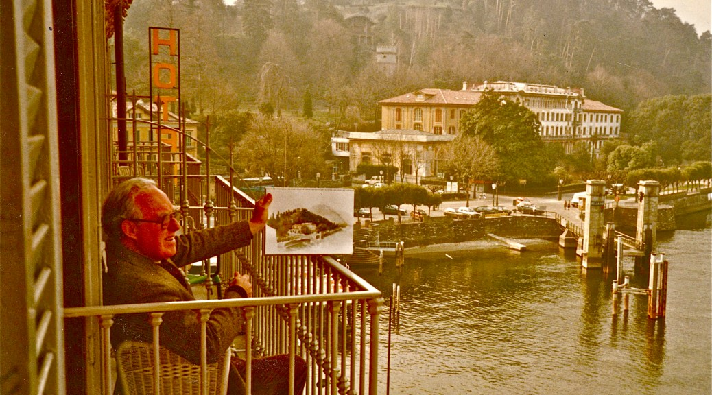 The Artist, Noel Jackson painting on Lake Como