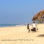 Local Burmese strolling on Ngapali Beach, Myanmar