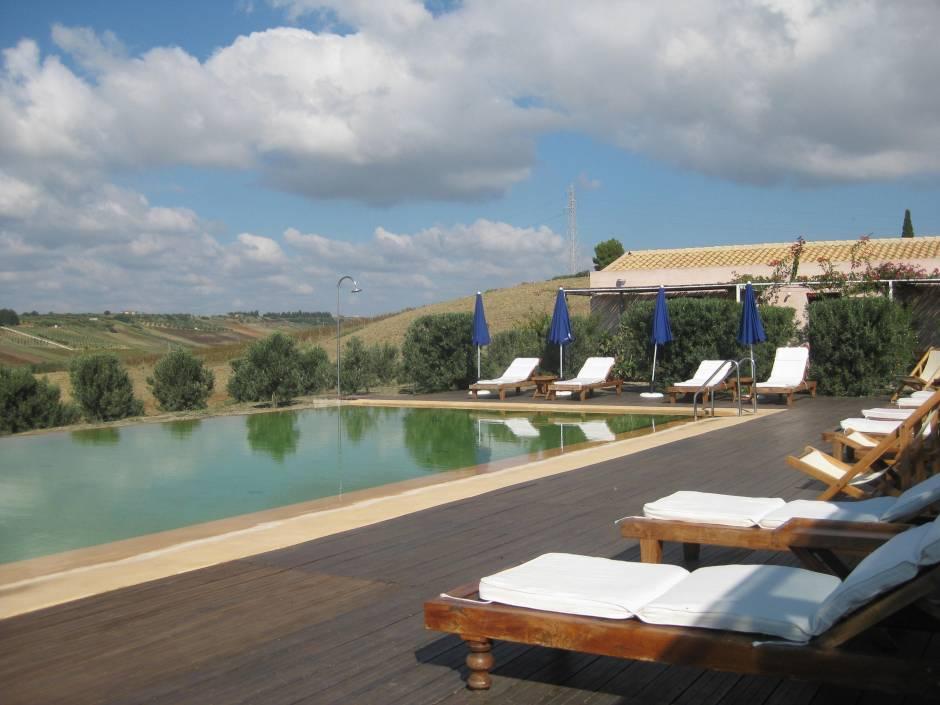 The inviting pool at La Planeta's La Foresteria, near Menfi, Sicily.