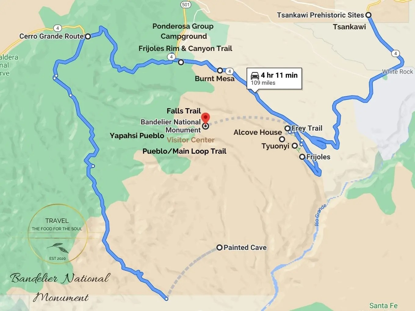 Bandelier National Monument Hiking Trails Map
