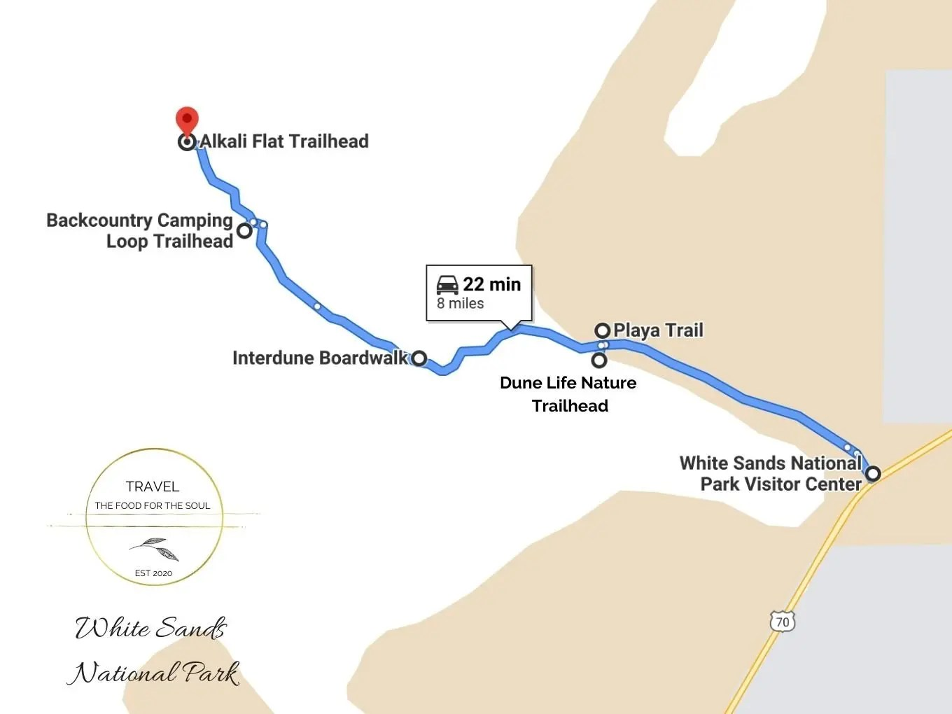White Sands National Park Hiking Trail Map