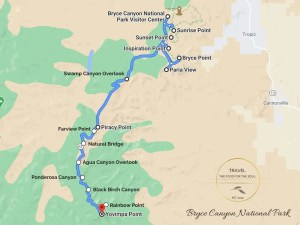 Bryce Canyon National Park Attractions Map