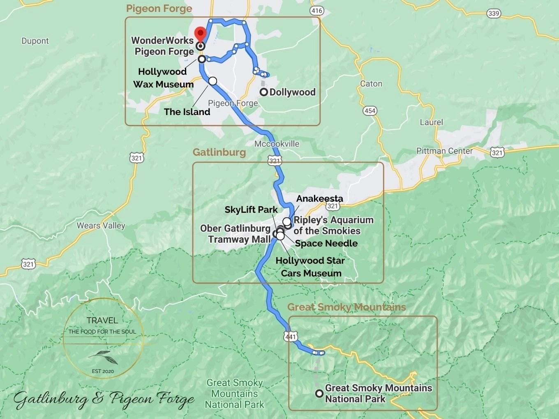 Gatlinburg Attractions Map