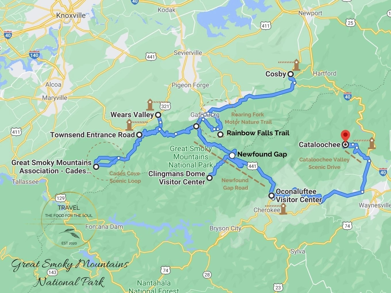 Great Smoky Mountains National Park Attractions Map