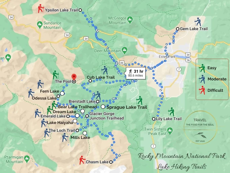 Lake Hiking Trails Rocky Mountain National Park Hiking Trails Map