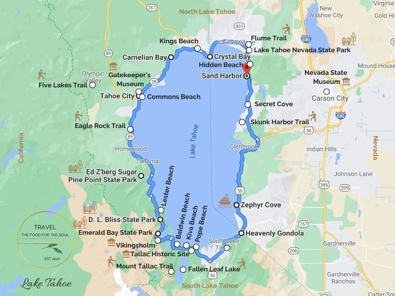 Lake Tahoe Attractions Map