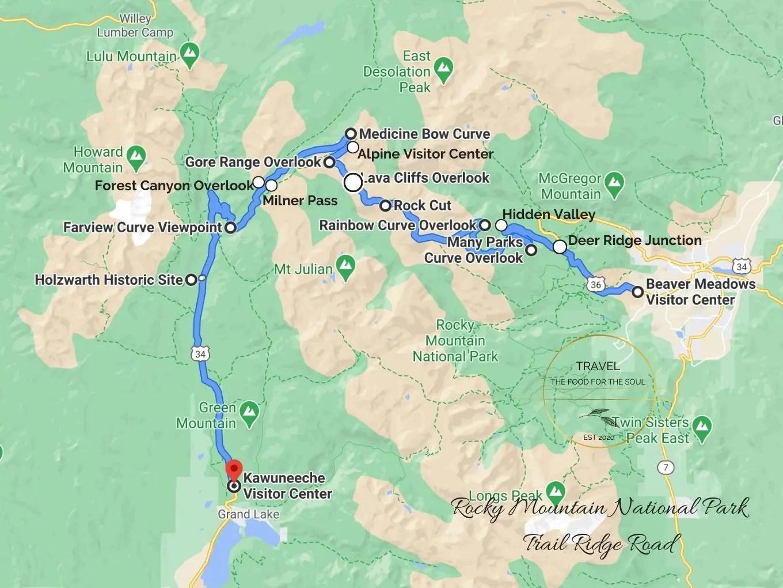 Trail Ridge Road Map | Rocky Mountain National Park