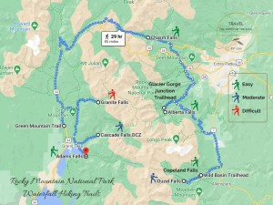 Waterfall Hiking Trails | Rocky Mountain National Park Hiking Trails Map