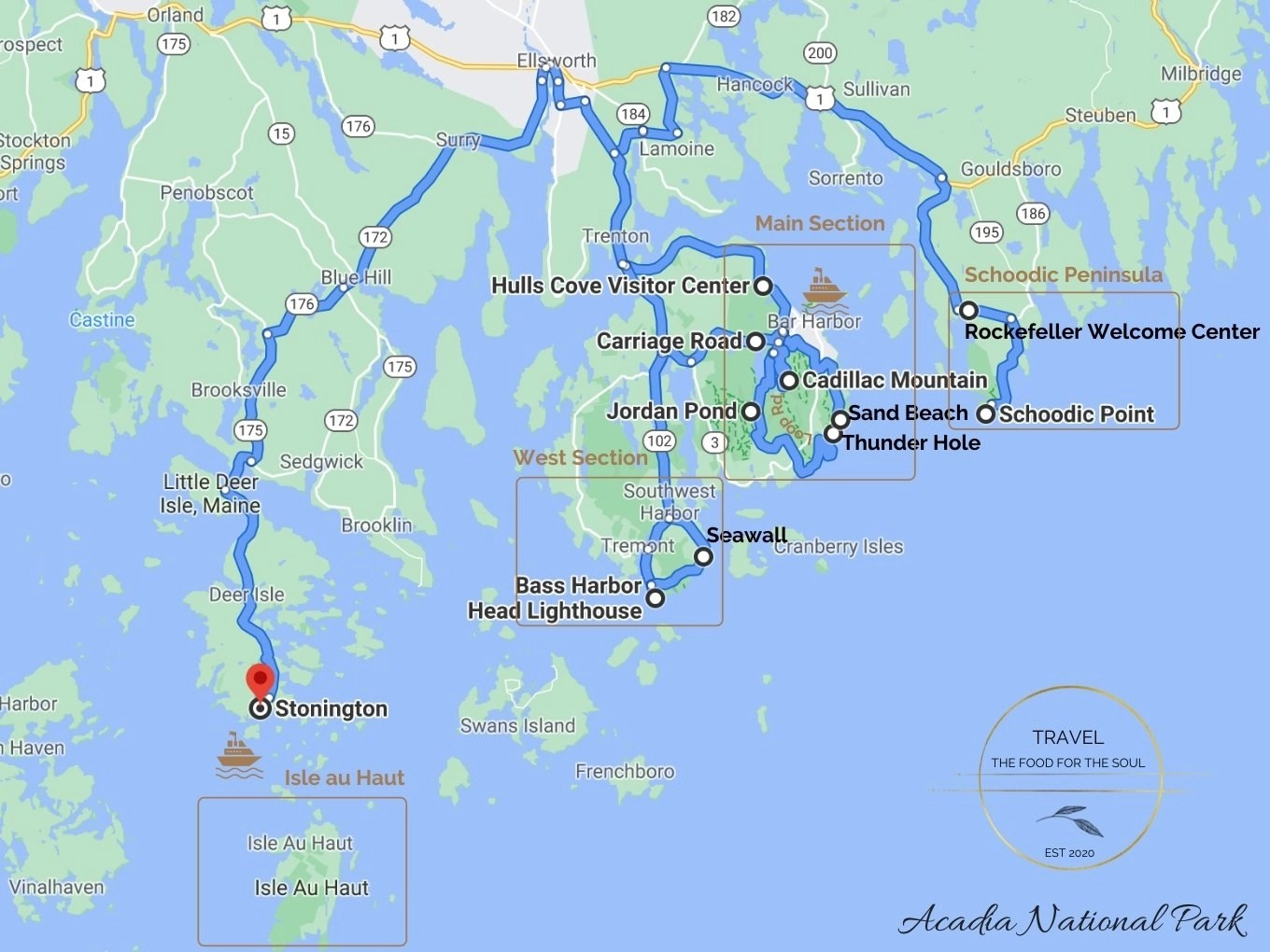 Acadia National Park Attractions Map